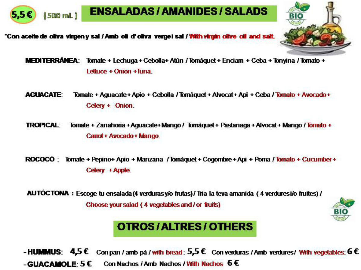 organic salads Barcelona